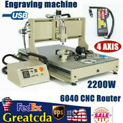 6040 4 Axis Usb Cnc Router Engraving Drillingandmilling Machine + Controller 2200w