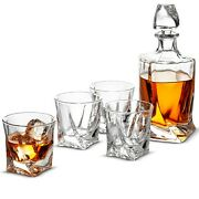 5-piece Whiskey Decanter Set, Weighted Bottom European Design 100 Lead Free