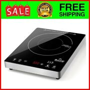 Portable Induction Cooktop High End Full Glass Burner Sensor Touch 1800w Steel