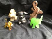 Lot Of 5 Vintage Carnival Animal Figurines -cast Iron, Ceramic And Glass