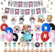 Bts Theme Birthday Party Decorations 10 Kids Bts Tableware Party Supplies 107pc