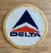 Vintage Delta Airlines Logo 24andrdquo Rug Wall Hanging Sign Plane Latch Hook Knit Rare