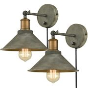 Farmhouse Plug-in Wall Sconce Set Of 2 With On/off Switch Bedroom Wall Lighting