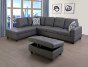 Sale Modern Contemporary Gray Sectional Faux Leather Storage Ottoman And 2 Pillows