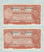 Consecutive Pair 1952 Type Coombs / Wilson Ten Shilling Banknotes B38 693466/7