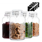 4 Pack - 1 Gallon Glass Jars With Lids Food Storage Jars With Airtight Lids Leak