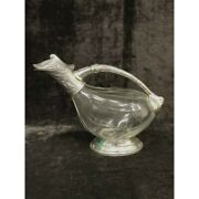 1902s French Antique Crystal Glass Imperial Carafe Bottle Pitcher / Metal Handle