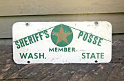 1940and039s Sheriffand039s Posse Member License Plate Washington State Horse Carriage Rare