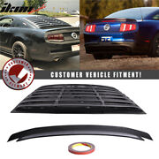 Fits 10-14 Ford Mustang Rear Window Louver Matte + Trunk Spoiler Gloss Black