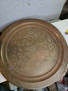Antique Copper Middle Eastern, Persian, Arabic, Hand Etched Large Tray 18