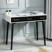 Home Office Desk With 3 Large Drawers Writing Desk Study Laptop Table Wood Leg