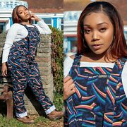 Run And Fly Shooting Stars Print Dungarees In Twill Cotton By Unisex
