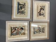 Handpainted Egyptian Papyrus Painting Framed 4 Pack