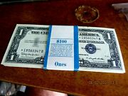 Brick Of 100 Gem Uncirculated In Sequence 47 Stars 1 1957b Silver Certificates