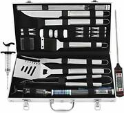 24pcs Bbq Grill Tools Set With Meat Thermometer And Injector Extra Thick St...
