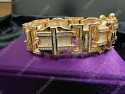 14k Yellow Gold Plated Menand039s Very Big Thick Bracelet In 12 Ct Round Sim Diamond
