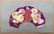 Project Fan Art Deco Painted Hand Fabric Woman Roses Vicente Ballester Valencia