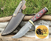 Custom Hand Forged Damascus Steel Hunting Knife W/ Wood And Brass Guard Handle