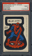 1975 Topps Comic Book Heroes Stickers Spiderman 2 Bug Off Variation Psa 9