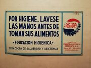 Vintage Antique Pepsi Cola Mexican Tin Metal Sign Restroom Advertising From 50andacutes