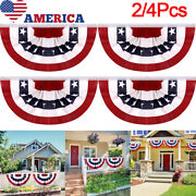 2/4pack American Usa Bunting Flag Fan Parade Banner For July 4th Garden Decor Us