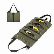 Waxed Canvas Tool Roll Pouch Multi-purpose Tool Organize Bag With 5 Zipper Po...