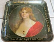 Pre-prodrink Phos-ferrone Antique Original Lady Advertising Serving Tray 1900and039s