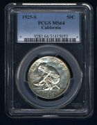 U.s. 1925-s California Half-dollar Silver Uncirculated Coin Certified Pcgs-ms64