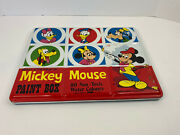 Vintage Metal Mickey Mouse Paint Box Set Made In England Nice Condition