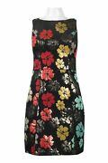 Maia Metallic Jacquard Party Dress Size 16 Black Gold Red Turquoise Nwt 158
