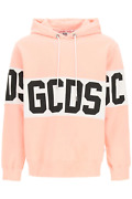 New Gcds Hoodie With Logo Band Cc94m021013 Pink Authentic Nwt