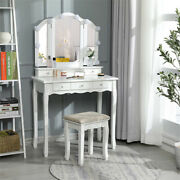 5 Drawer Vanity Makeup Table And Light Lamp Dressing Wood Desk Set With Stool