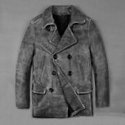 Menand039s Vintage Gray Motorcycle Leather Jacket Thick Cowhide Male Suit Coats