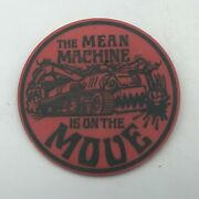 Mean Machine On The Move 2-3/4 Red Plastic Button Pin Pinback Tractor Vtg Y4