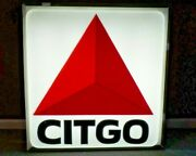 Vintage Original Citgo Oil Company Lighted 3 Foot Embossed Sign - Good Condition