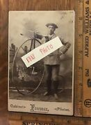 Big High Wheel Bicycle Cabinet Card Photo Antique 1880andrsquos Freeman Rockland Mass