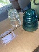 Antique Electric Insulators Green And Clear