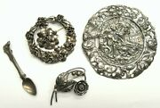 Vintage Sterling Silver Pin Lot - 3 Cini + 2 Hobe + Dragsted Denmark + Spoon