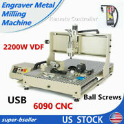 Usb 4axis Cnc 6090 Router Engraver Wood Carving Mill Machine 2200w+controller