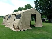 Military Base X Tent 305+stakes Tan 18x 25 Ft 450 Sq Ft Surplus Army- Damaged