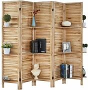 5 Panel Room Divider Partition Wood Folding Privacy Screens With Shelves Natural