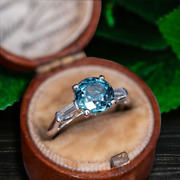 3.38ct Blue Unheated Natural Montana Parti Sapphire Vintage Christmas Gift Ring