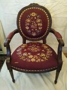 Antique French Louis Xvi Carved Mahogany Wide Oval Back Chair Repair Or Restore