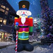 8and039 Christmas Inflatable Nutcracker Soldier Outdoor Decor Light Up Inflatatable