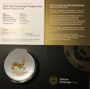 2017 Gilded Silver Krugerrand 20th Anniversary Collectors Edition 1oz .999 Coin