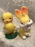 Vintage Gurley Bunny And Chick Easter Candles