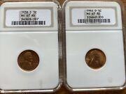 1938-d And 1944-d Lincoln Wheat Pennies Ngc Ms67 Rd Old Holders