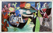 Picasso Style Large Hand Painted Oil Paintings 80x48 Night Fishing At Antibes