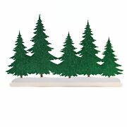 Department 56 Accessory Christmas Silhouette Wood Trees Green Glitter 6003213