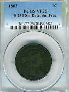 1803 Draped Bust Large Cent Pcgs Vf25 Small Date Small Fraction S-254